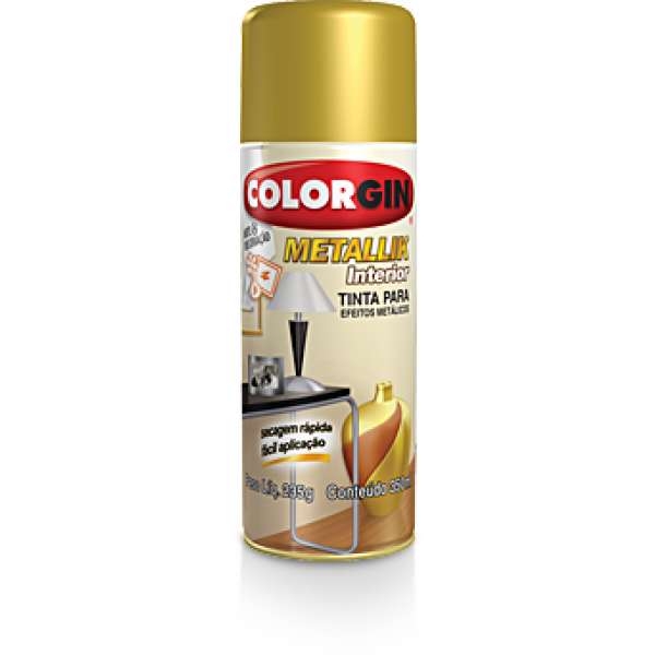 Tinta Spray Metallik  Dourado 300ml - Colorgin