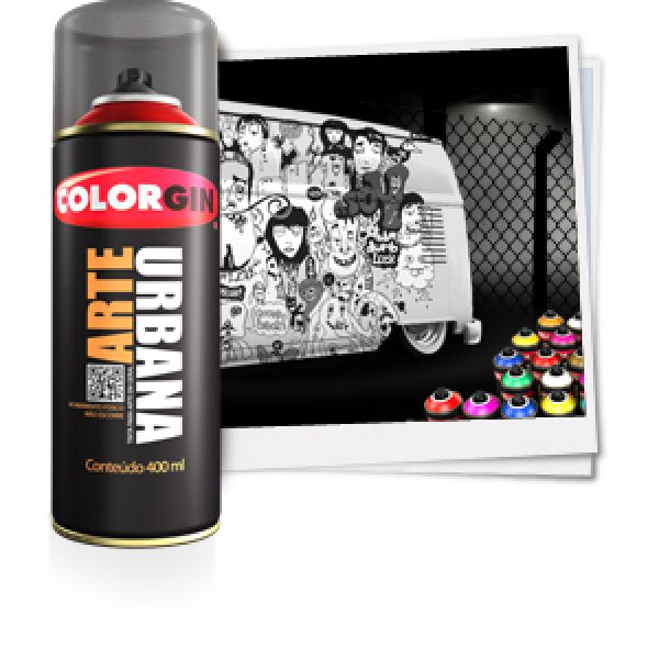 Tinta Spray Fosco Arte Urbana Cinza Claro 400ml - Colorgin